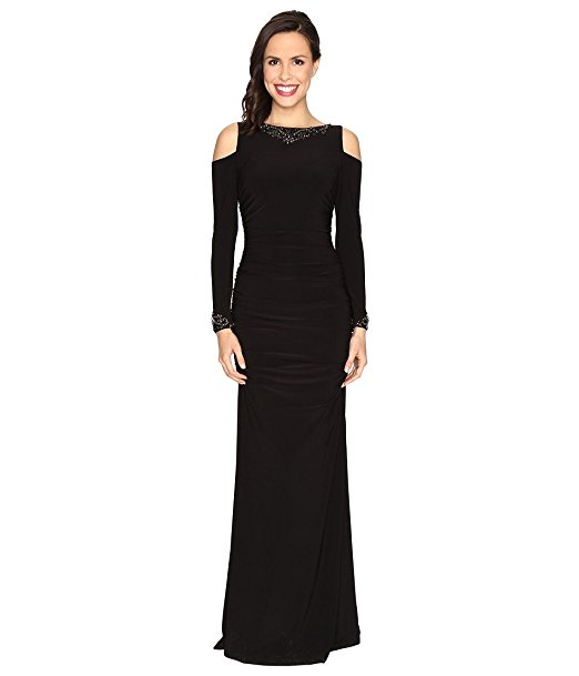 Adrianna Papell Long Sleeve Cold Shoulder Ruched Mermaid Gown, Black ...