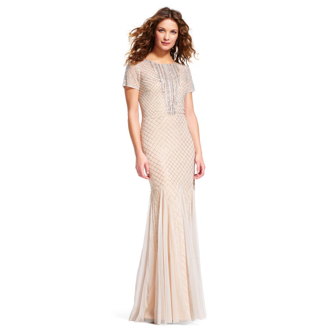 Adrianna Papell Short Sleeve Mermaid Dress with Beaded Neckline | eBay