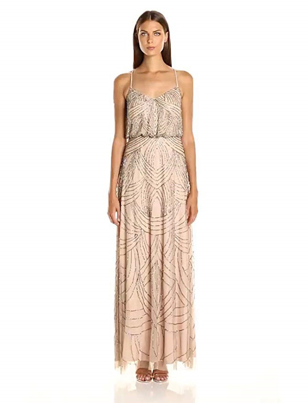 Adrianna Papell Womens Beaded Blouson Gown Taupe/pink Regular 16 ...