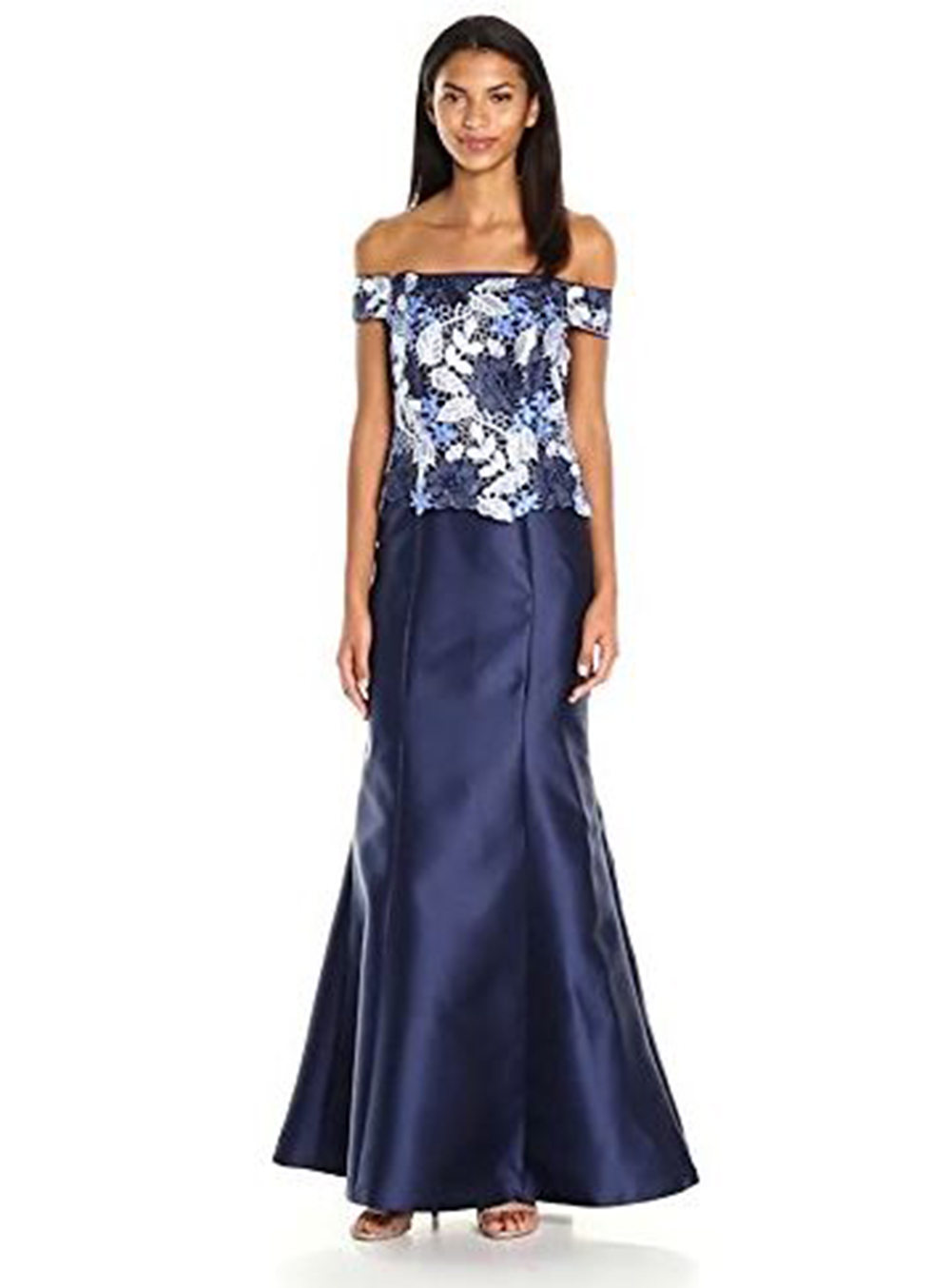 Adrianna Papell Tri Color Lace Mikado Off Shoulder Ball Gown, Blue ...