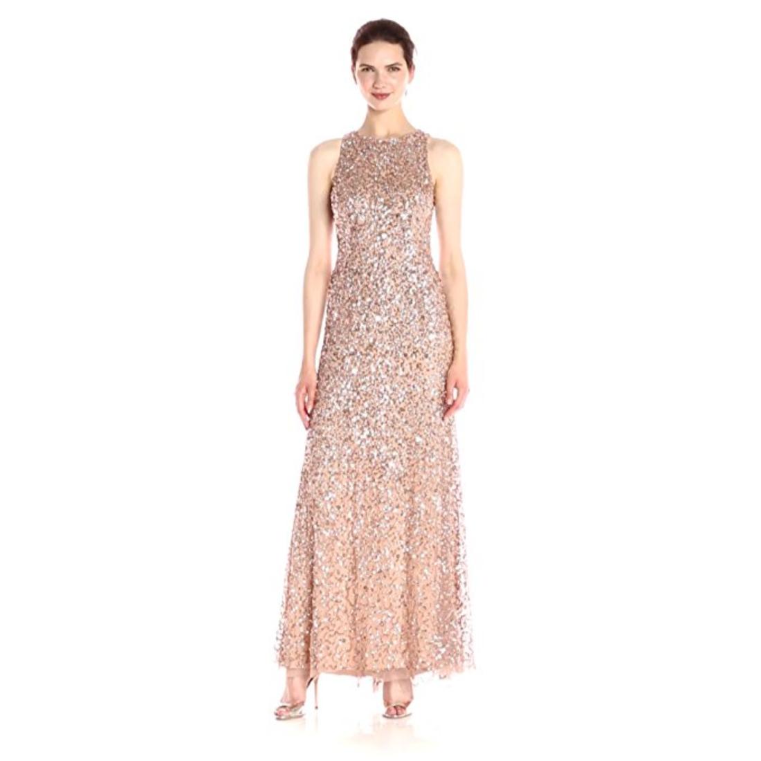 Adrianna Papell Women\'s Sleeveless Beaded Long Halter Gown   eBay
