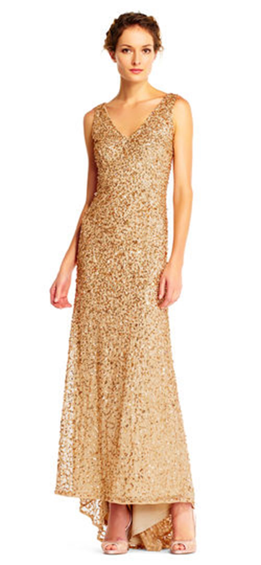 Adrianna Papell Sleeveless Sequin Beaded Gown V-Neck V-Back ...
