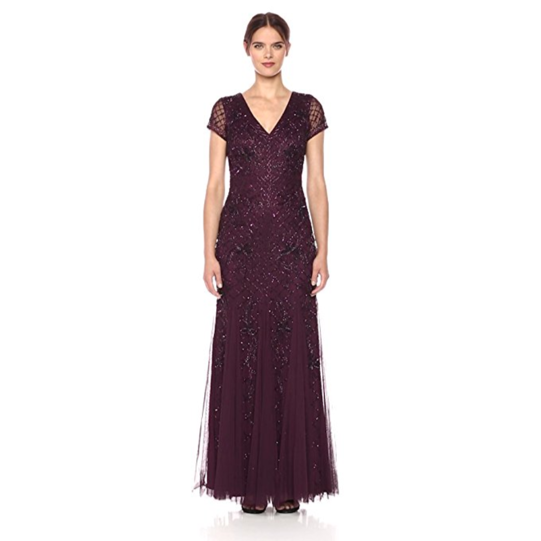 Adrianna Papell Short Sleeve Beaded Gown With Chiffon Godet Skirt DP ...