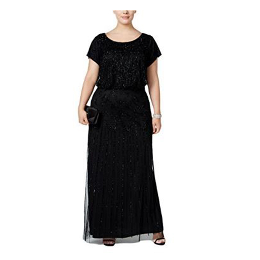 Adrianna Papell Women\'s L/s Lace Gown With Beaded Detail 6m Black | eBay