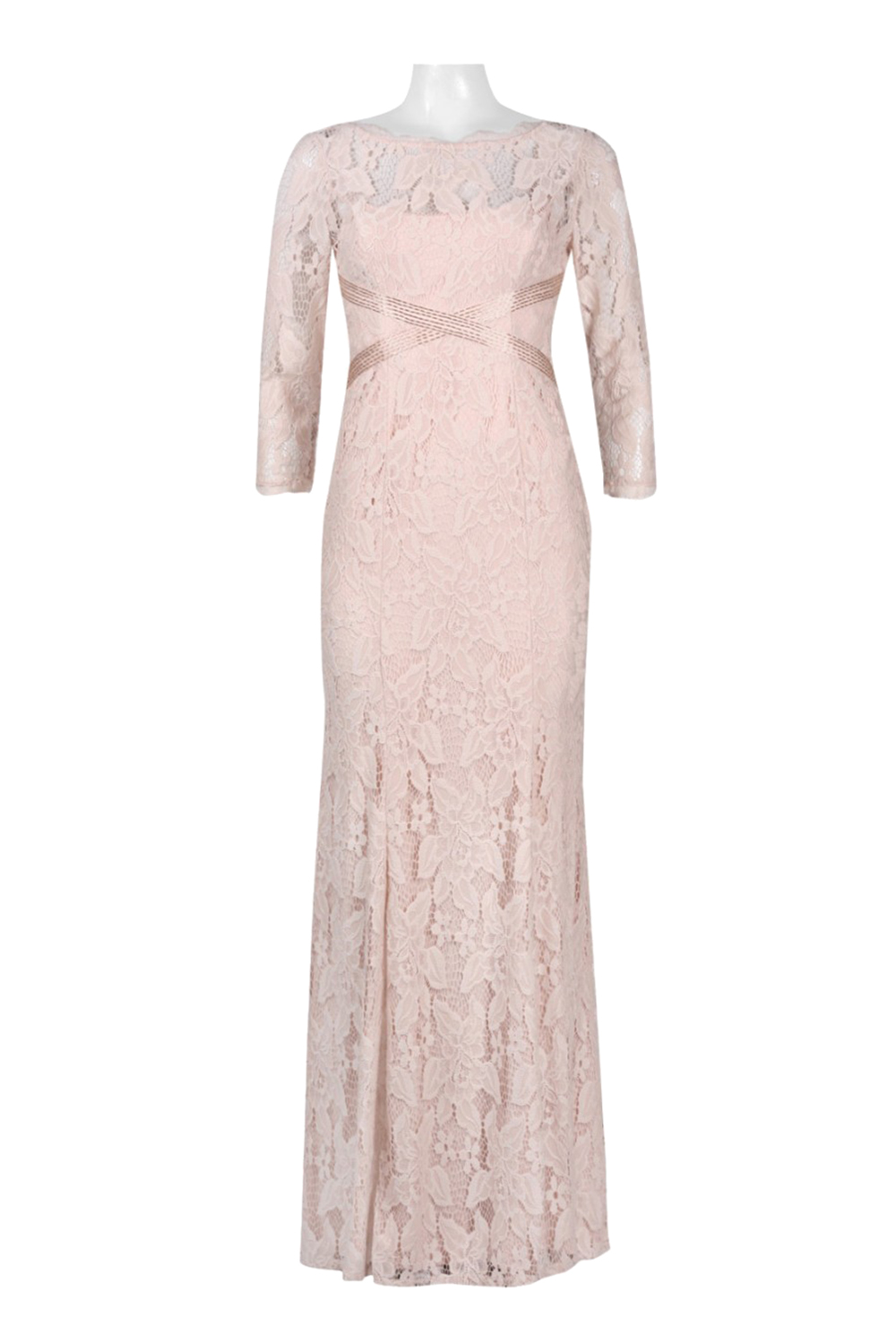 16 Adrianna Papell Blush Pink Beaded Bands Lace Illusion Sheath Gown ...