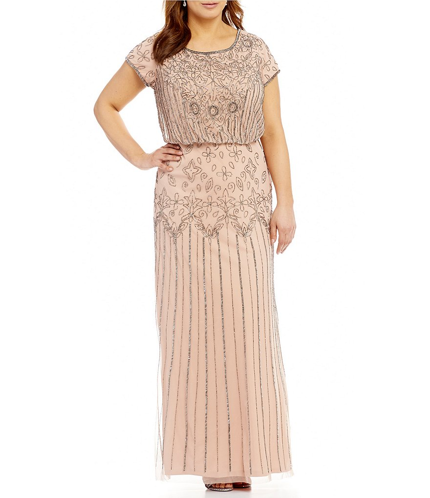 Adrianna Papell Beaded Blouson Gown | eBay