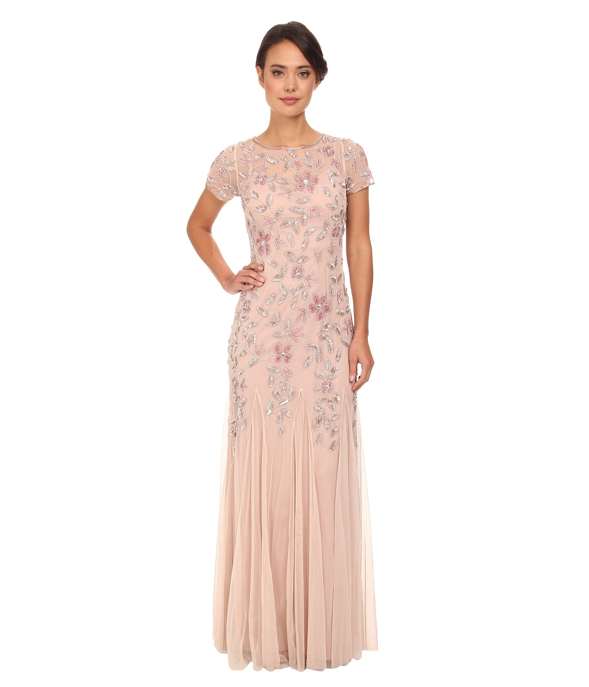 Adrianna Papell Women\'s Floral Beaded Godet Gown | eBay