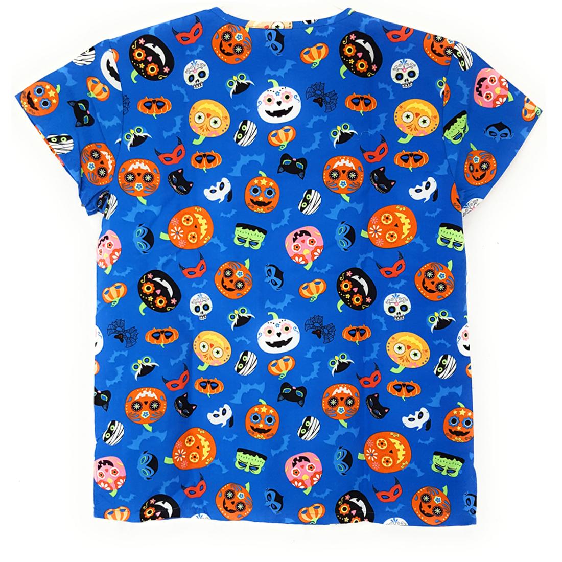V-Neck-Halloween-Print-Scrub-Top-Microfiber-Medical-Uniform-Shirt-DSF-Uniforms miniature 9