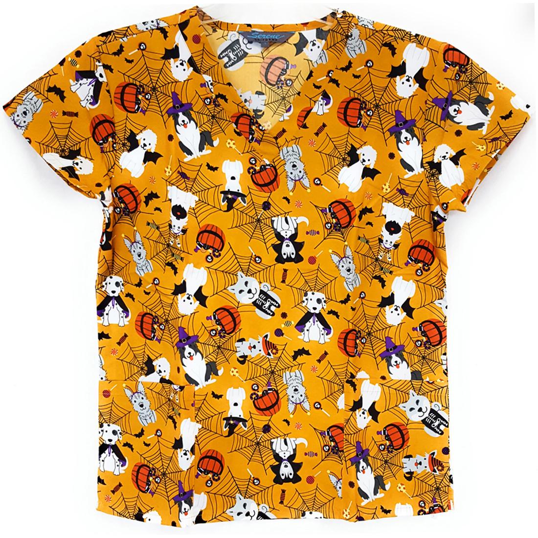 V-Neck-Halloween-Print-Scrub-Top-Microfiber-Medical-Uniform-Shirt-DSF-Uniforms miniature 16