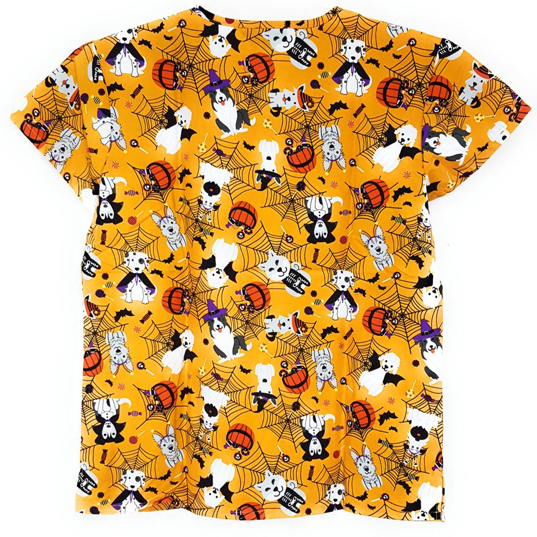 V-Neck-Halloween-Print-Scrub-Top-Microfiber-Medical-Uniform-Shirt-DSF-Uniforms miniature 15