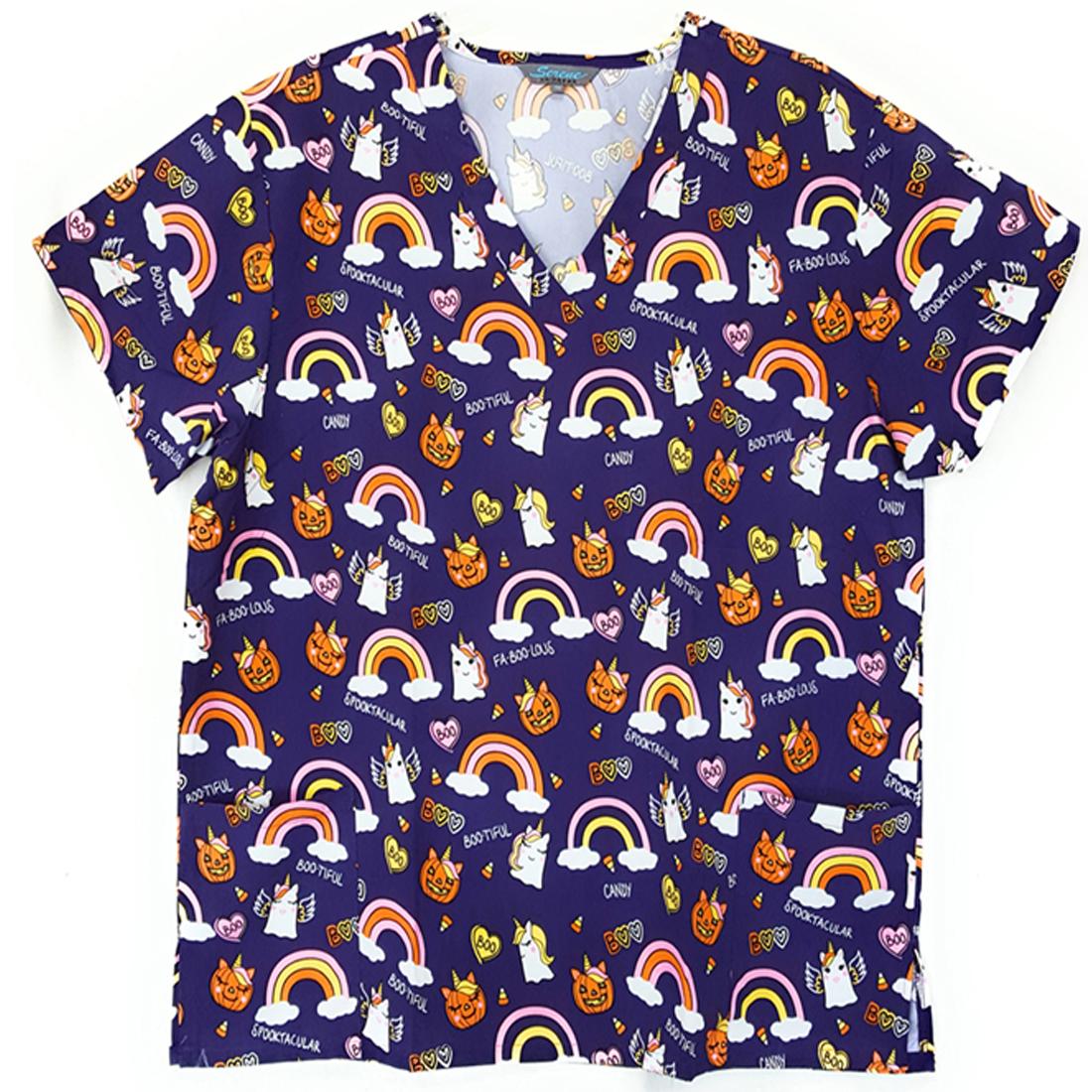 V-Neck-Halloween-Print-Scrub-Top-Microfiber-Medical-Uniform-Shirt-DSF-Uniforms miniature 22