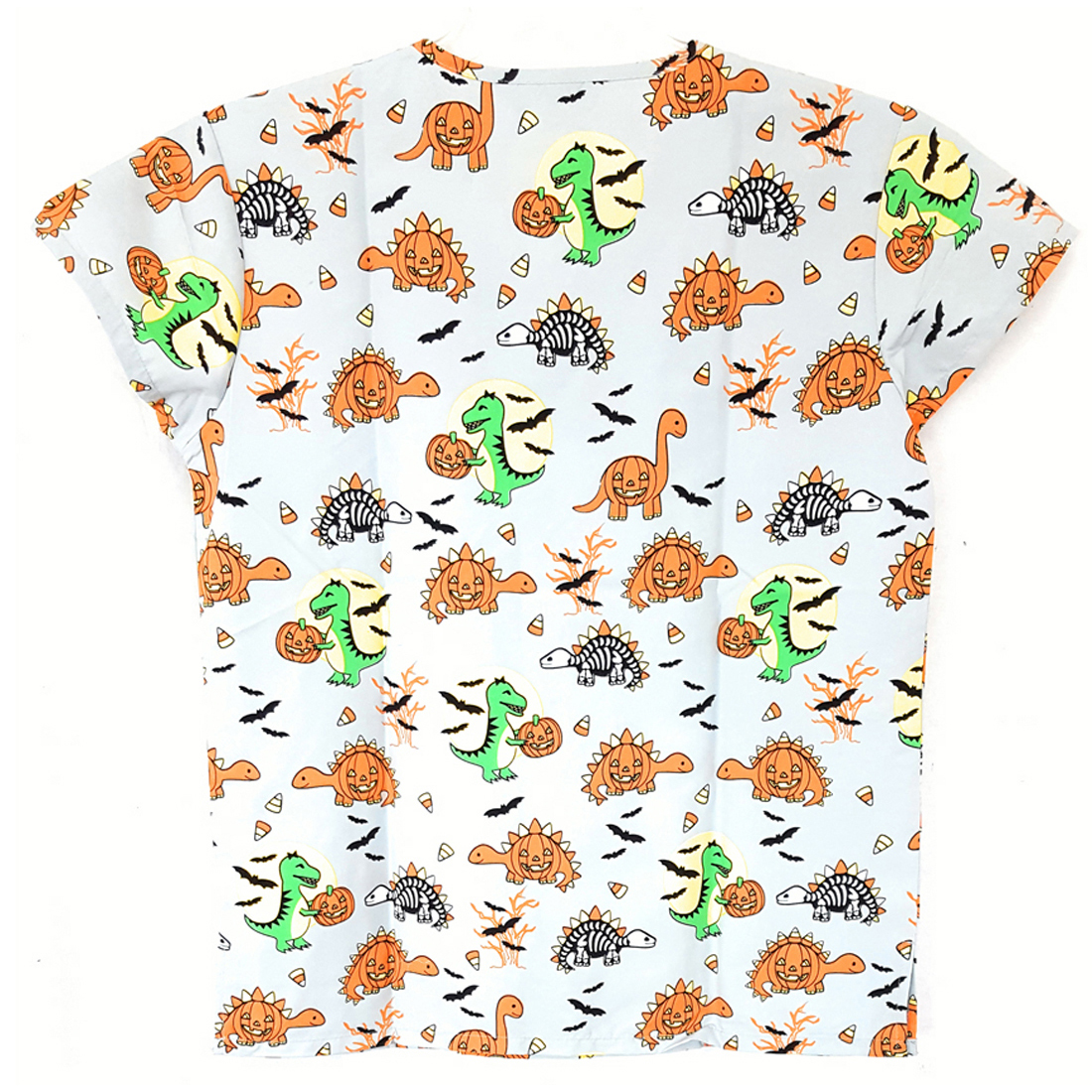 V-Neck-Halloween-Print-Scrub-Top-Microfiber-Medical-Uniform-Shirt-DSF-Uniforms miniature 12