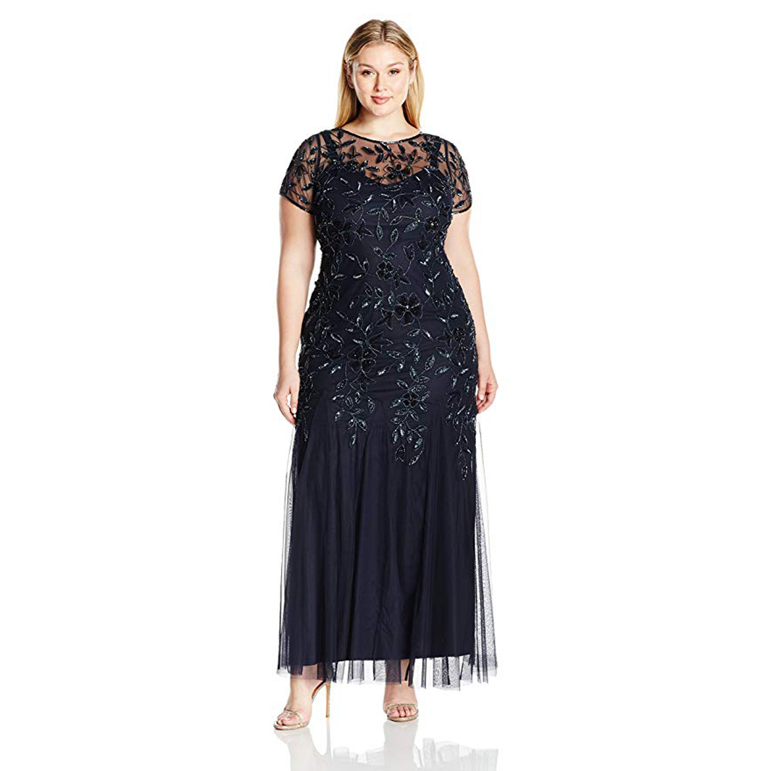 Adrianna Papell Plus Size Twilight Blue Floral Beaded Evening Gown ...