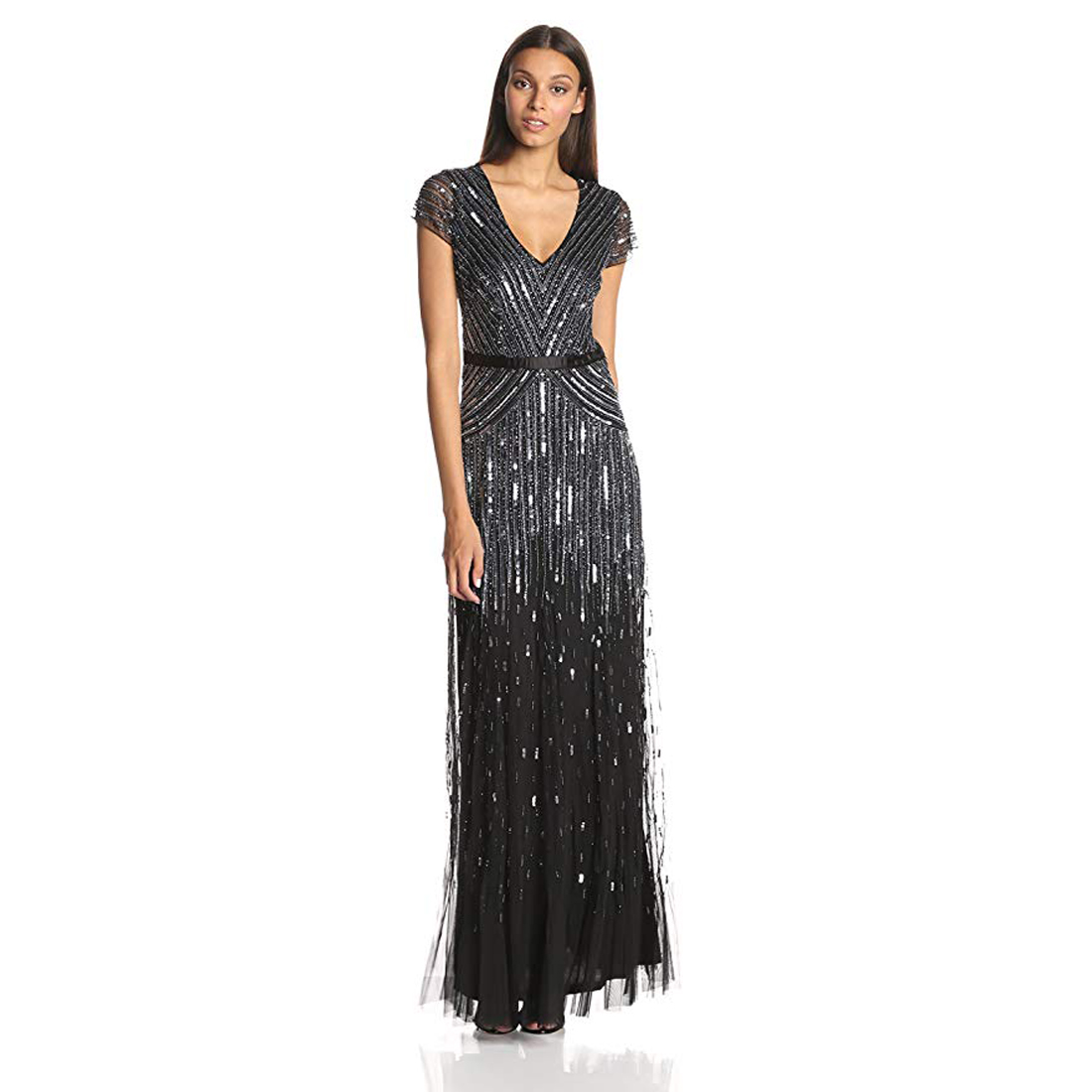 Adrianna Papell Petite Cap Sleeve Beaded Sequined Gown Gunmetal ...