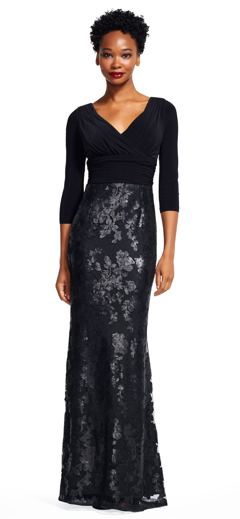 Adrianna Papell Sequin Floral Lace Dress with Draped Jersey Bodice ...