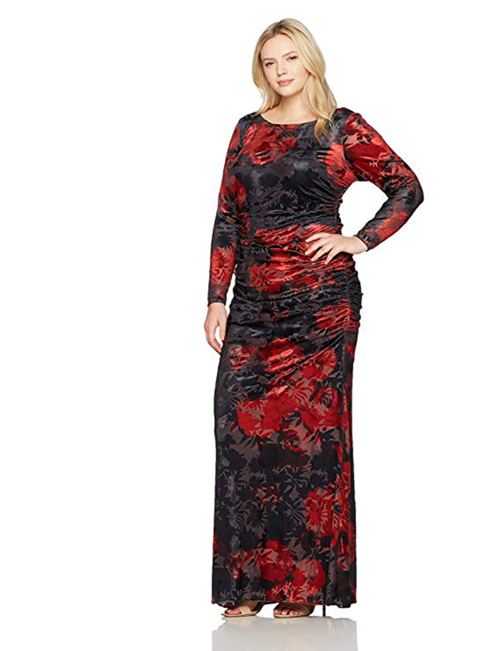 f93060210eba Adrianna Papell Velvet Burnout Floral Gown, Cardinal/Black, 14W ...