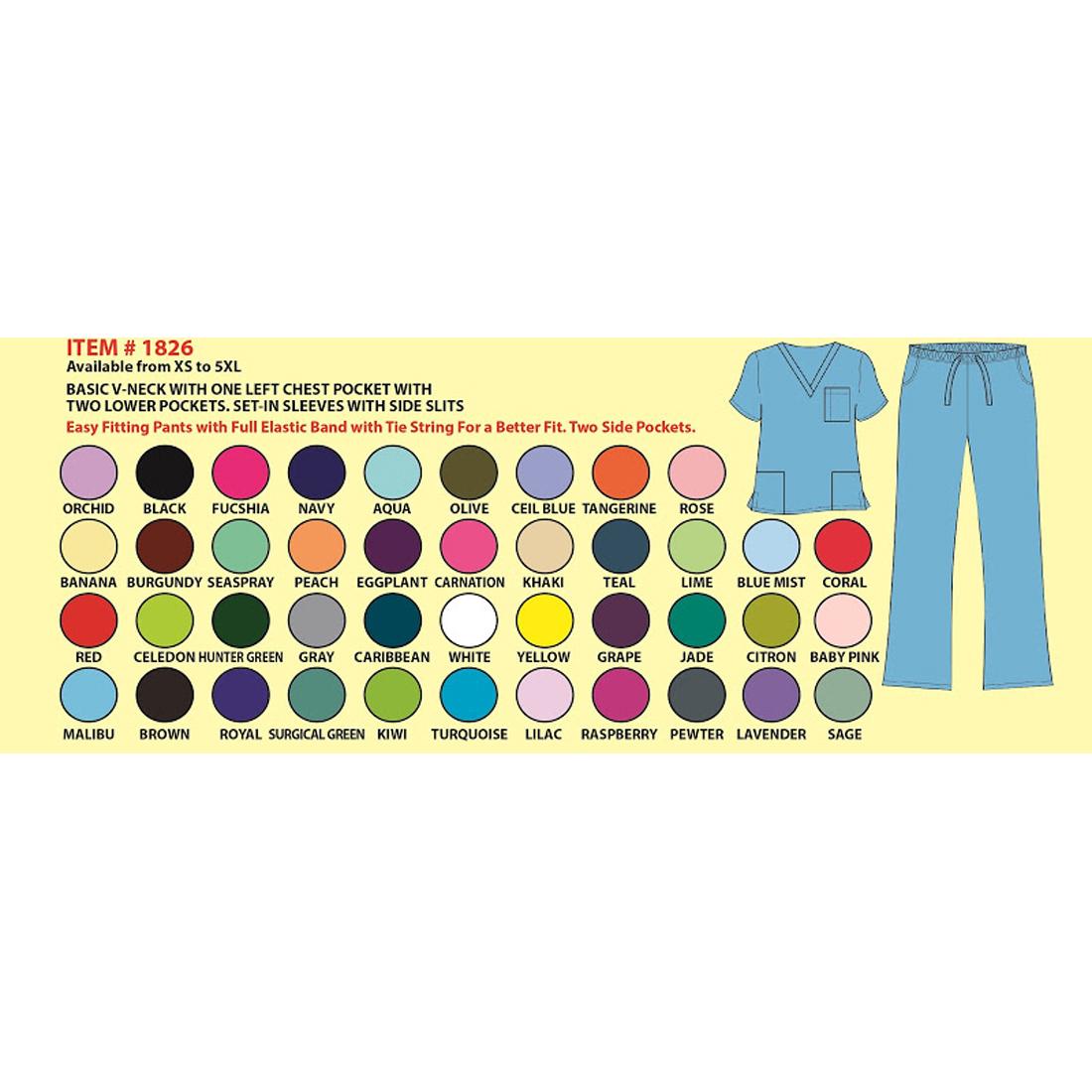 4bfb1fda00a Unisex V-Neck Scrub Set DSF Medical Uniform Women Men Top and Pants ...