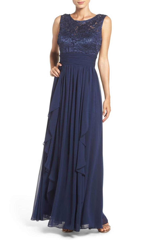 Eliza J Lace & Chiffon Gown, Navy, 6 688883931118 | eBay