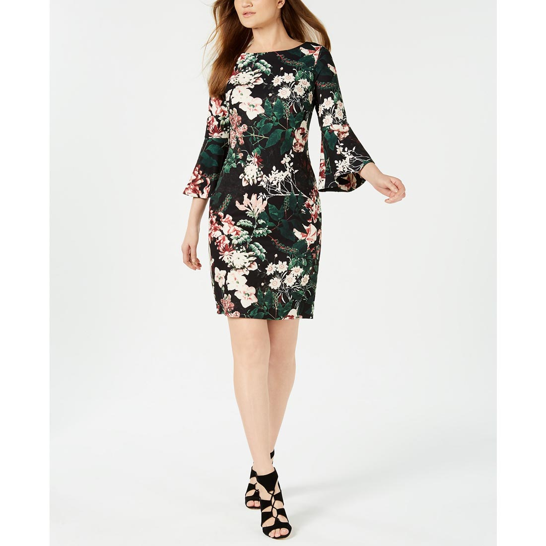 9f8cd3b199c Calvin Klein Floral Bell-Sleeve Sheath Dress