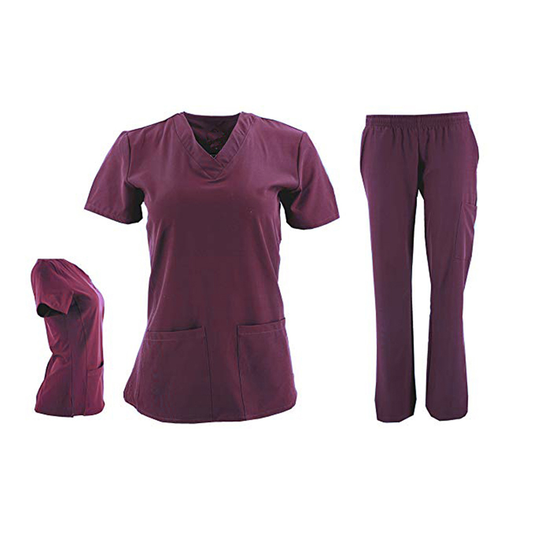DSF-Women-039-s-Four-Stretch-V-Neck-Mesh-Panel-Scrub-Set-Top-Cargo-Pants thumbnail 3