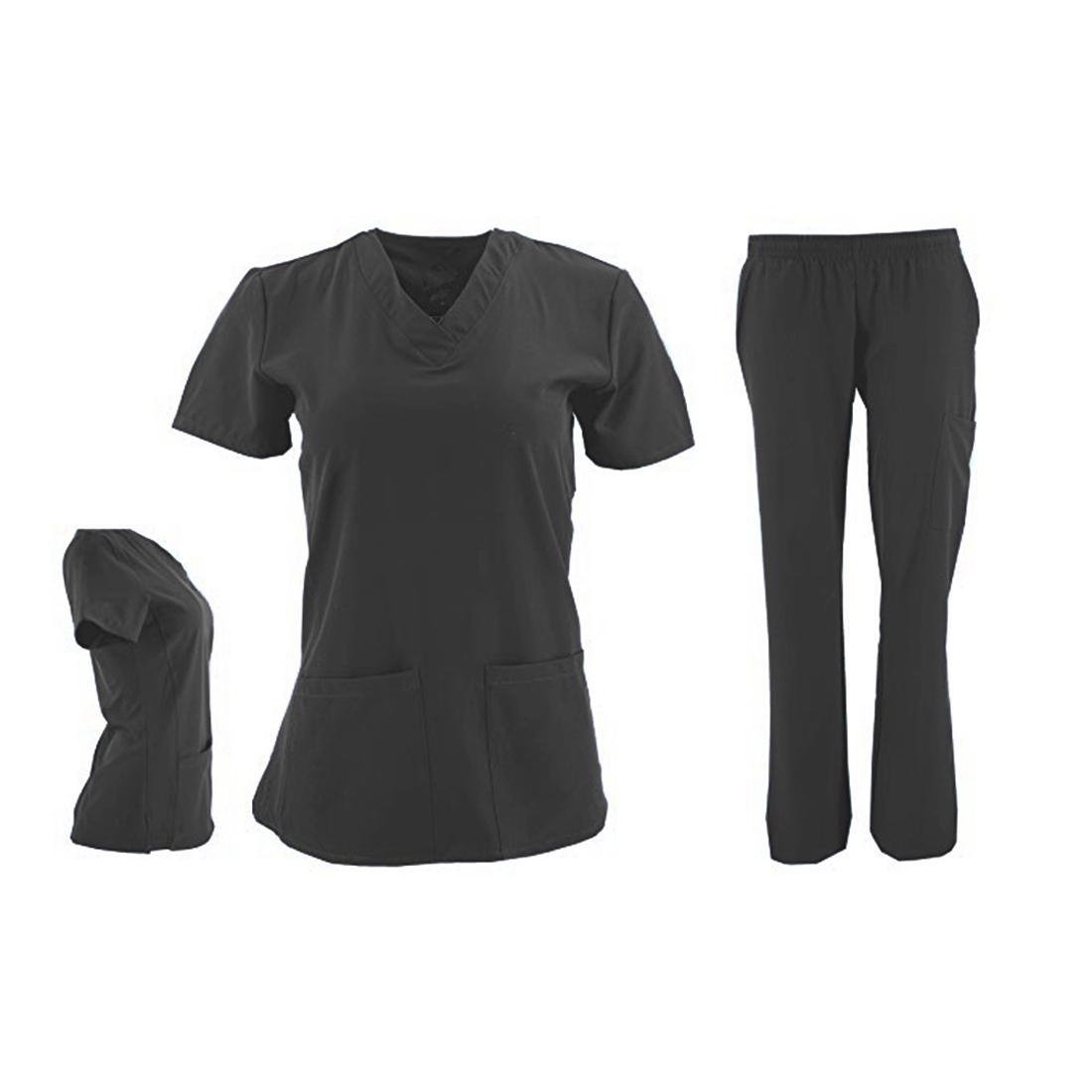 DSF-Women-039-s-Four-Stretch-V-Neck-Mesh-Panel-Scrub-Set-Top-Cargo-Pants thumbnail 5