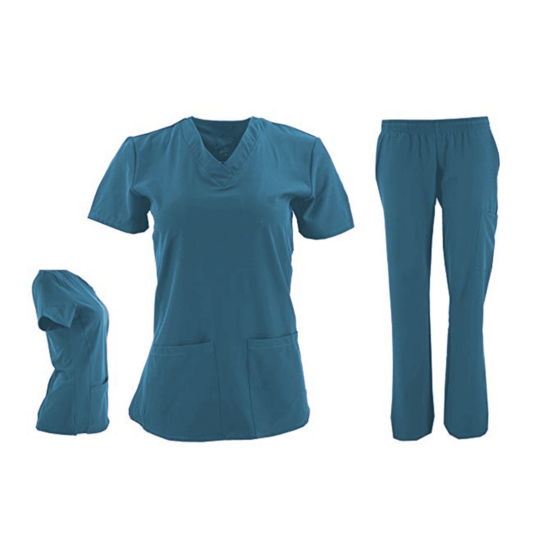 DSF-Women-039-s-Four-Stretch-V-Neck-Mesh-Panel-Scrub-Set-Top-Cargo-Pants thumbnail 7