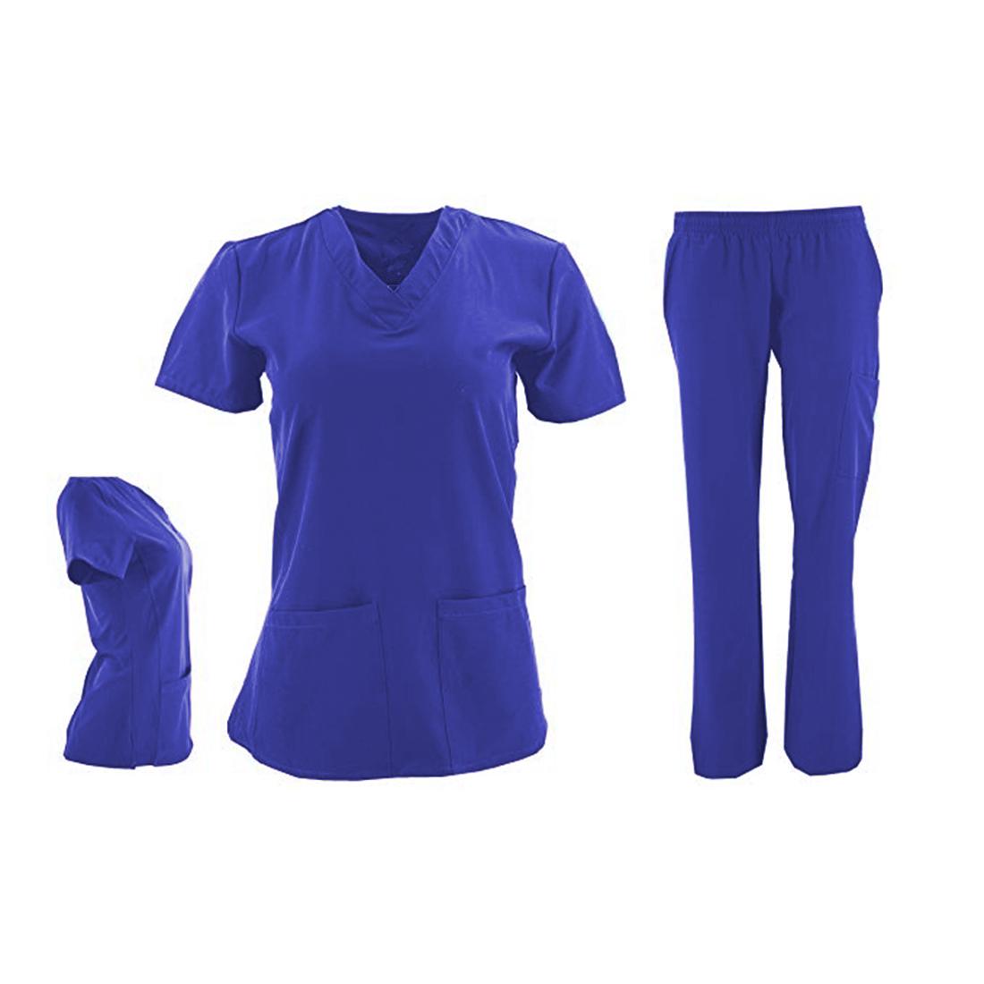 DSF-Women-039-s-Four-Stretch-V-Neck-Mesh-Panel-Scrub-Set-Top-Cargo-Pants thumbnail 9