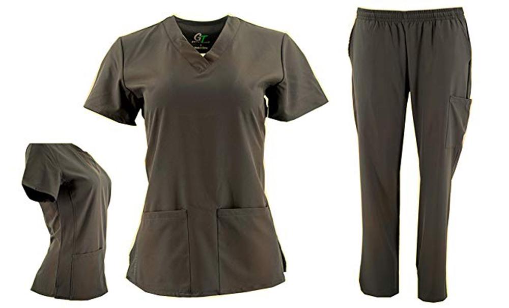 DSF-Women-039-s-Four-Stretch-V-Neck-Mesh-Panel-Scrub-Set-Top-Cargo-Pants thumbnail 17