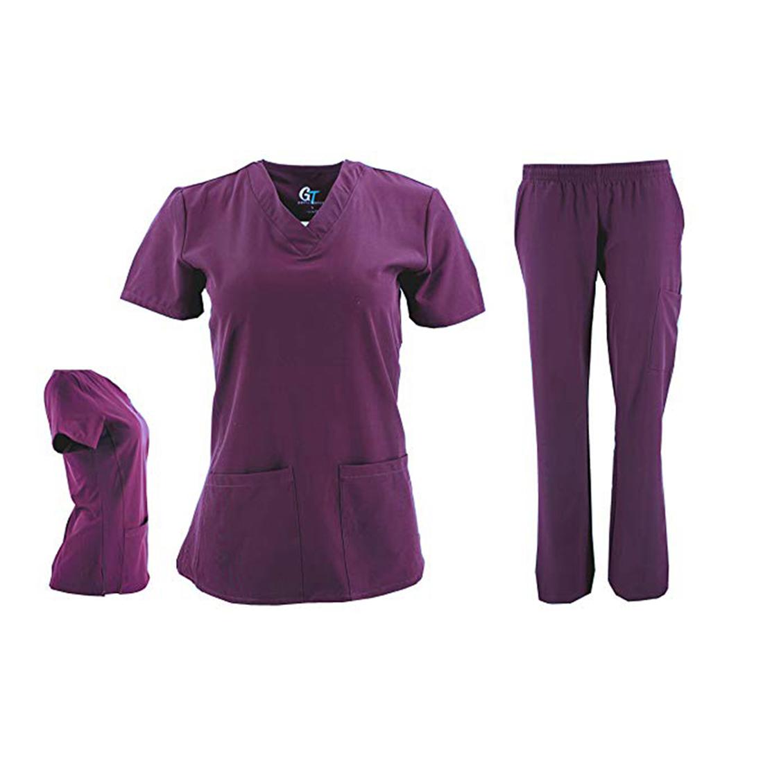 DSF-Women-039-s-Four-Stretch-V-Neck-Mesh-Panel-Scrub-Set-Top-Cargo-Pants thumbnail 15