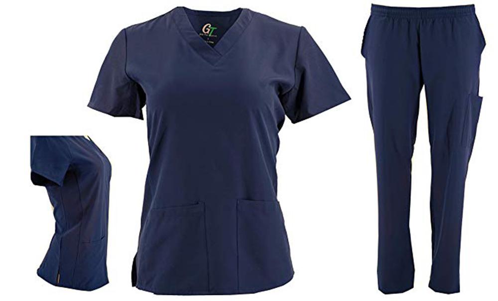 DSF-Women-039-s-Four-Stretch-V-Neck-Mesh-Panel-Scrub-Set-Top-Cargo-Pants thumbnail 13