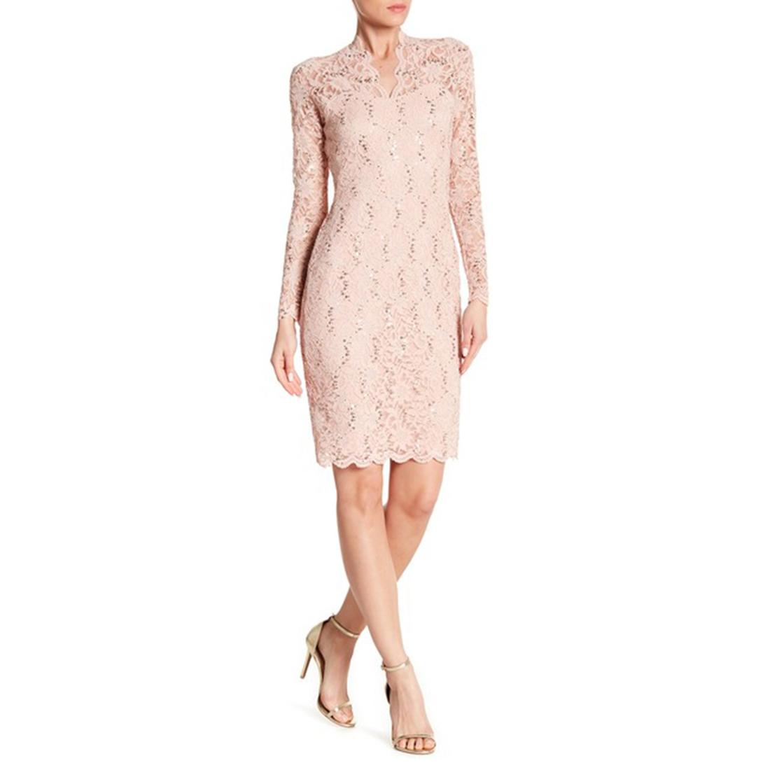 e3350520 Marina Long Sleeve Sequin Lace Dress, 261800, Blush, 16 796396711322 ...