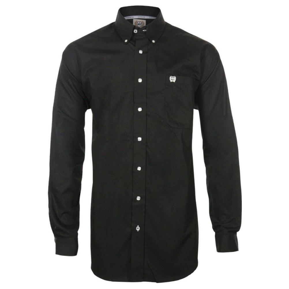 CINCH Men's Long Sleeve Button Down Shirt Solid Black Plain Weave ...