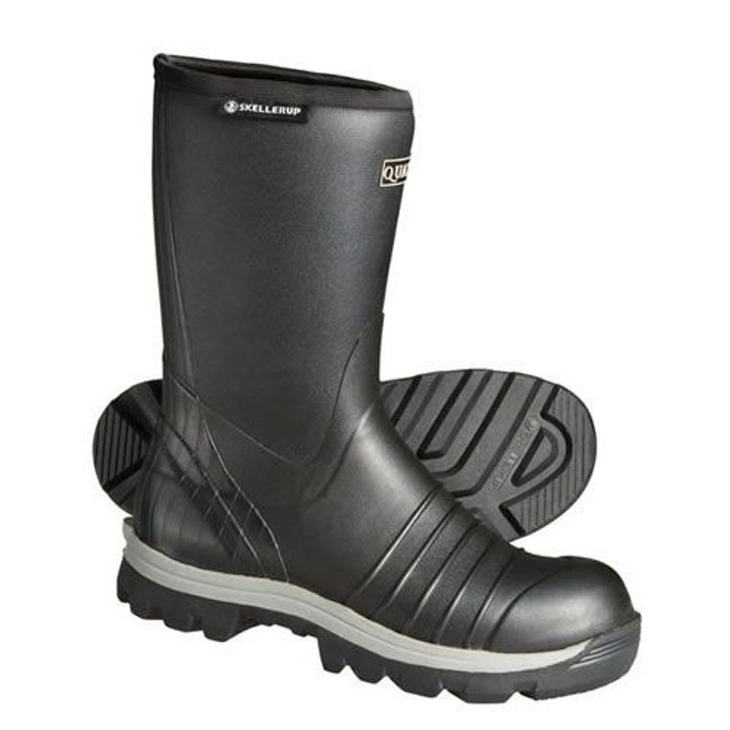 "Quatro Insulated 13"" Calf Boot SZ 5 Black Waterproof Rubber Tractor-Grip Cleat"