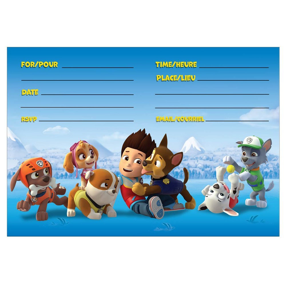 Unique Industries Pack Of 8 Paw Patrol Invitations
