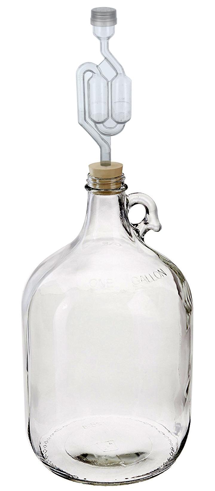 1 Gallon Glass Wine Fermenter #6 Drilled Rubber Stopper and Twin Bubble Airlock
