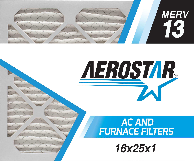 16x25x1 Furnace And Ac Air Filter By Aerostar Merv 13