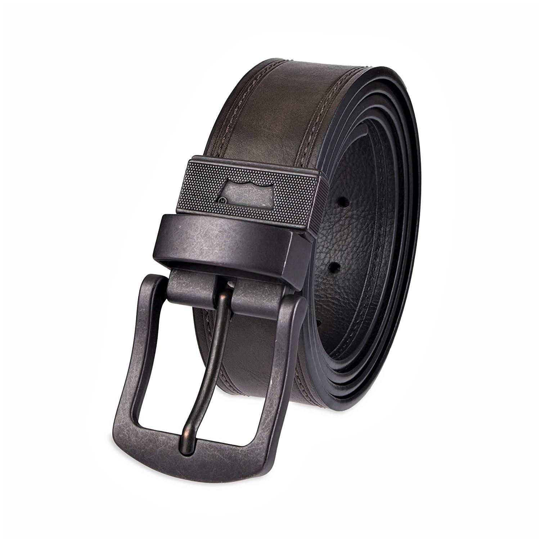 Dickies Mens Leather Beveled Edge Bridle Belt Roller Buckle Metal Logo