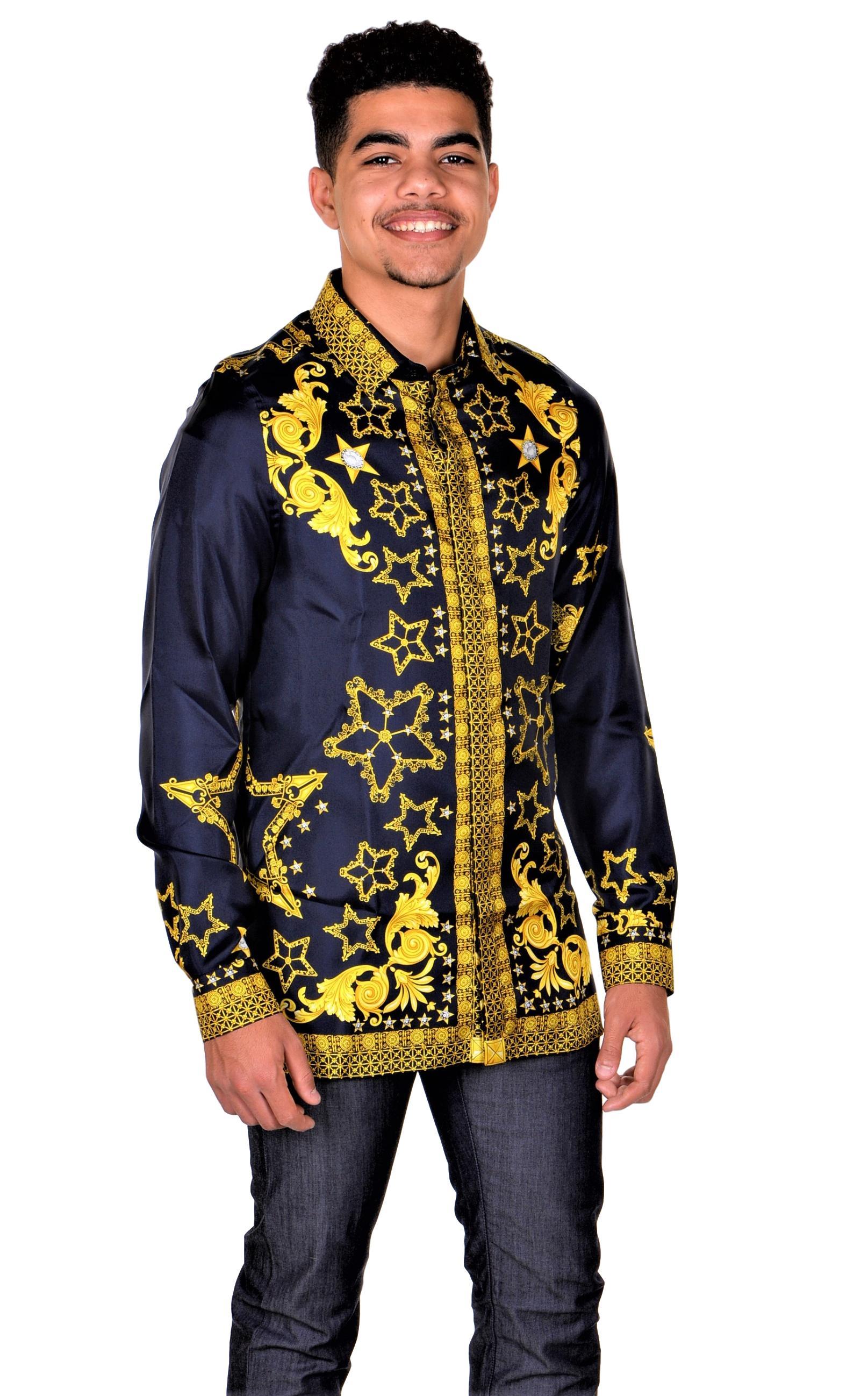 Versace-Collection-Trend-Mens-Silk-Printed-Shirt thumbnail 9