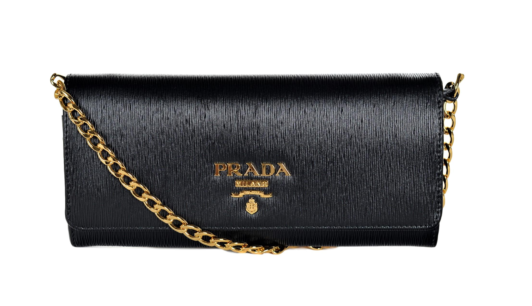 acc09434dab8 Prada Women s Vitello Move Leather Wallet-On-Chain 1BP290 Nero ...