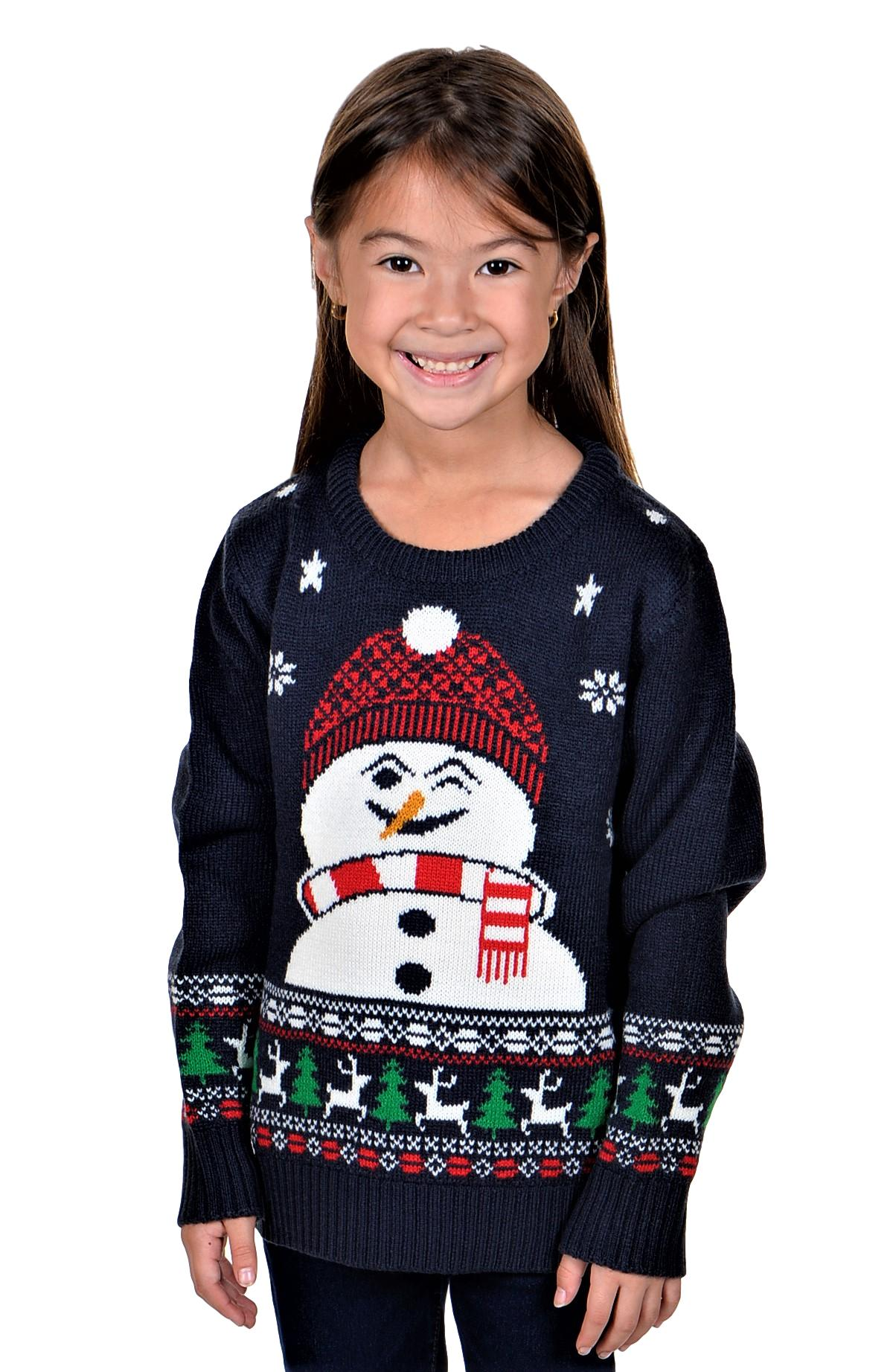 KESIS Children Rudolph with 3D Nose Ugly Christmas Sweater