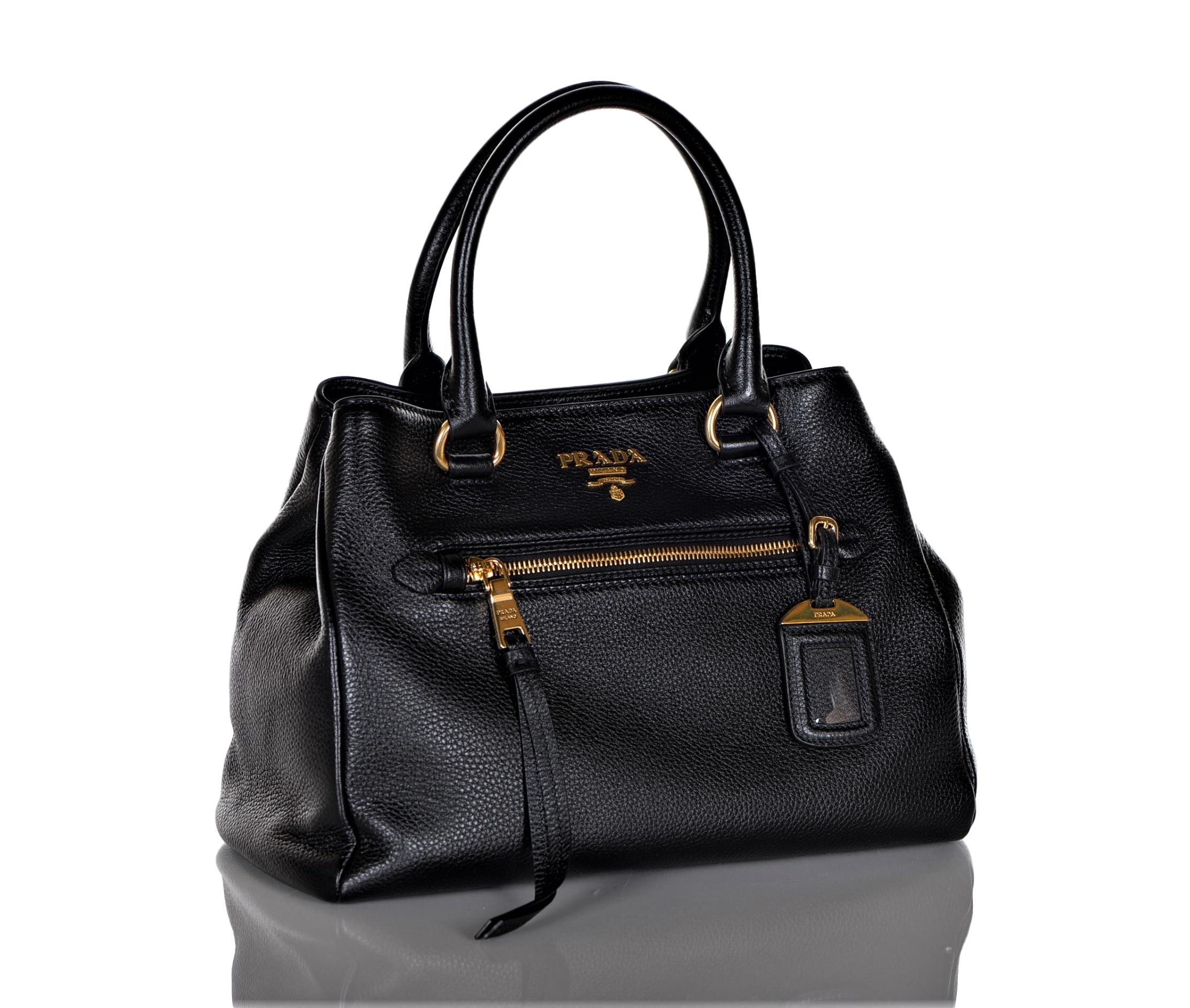 ef52ebb38693 Prada 1BG044 Women s Vitello Phenix Leather Convertible Bag Black ...