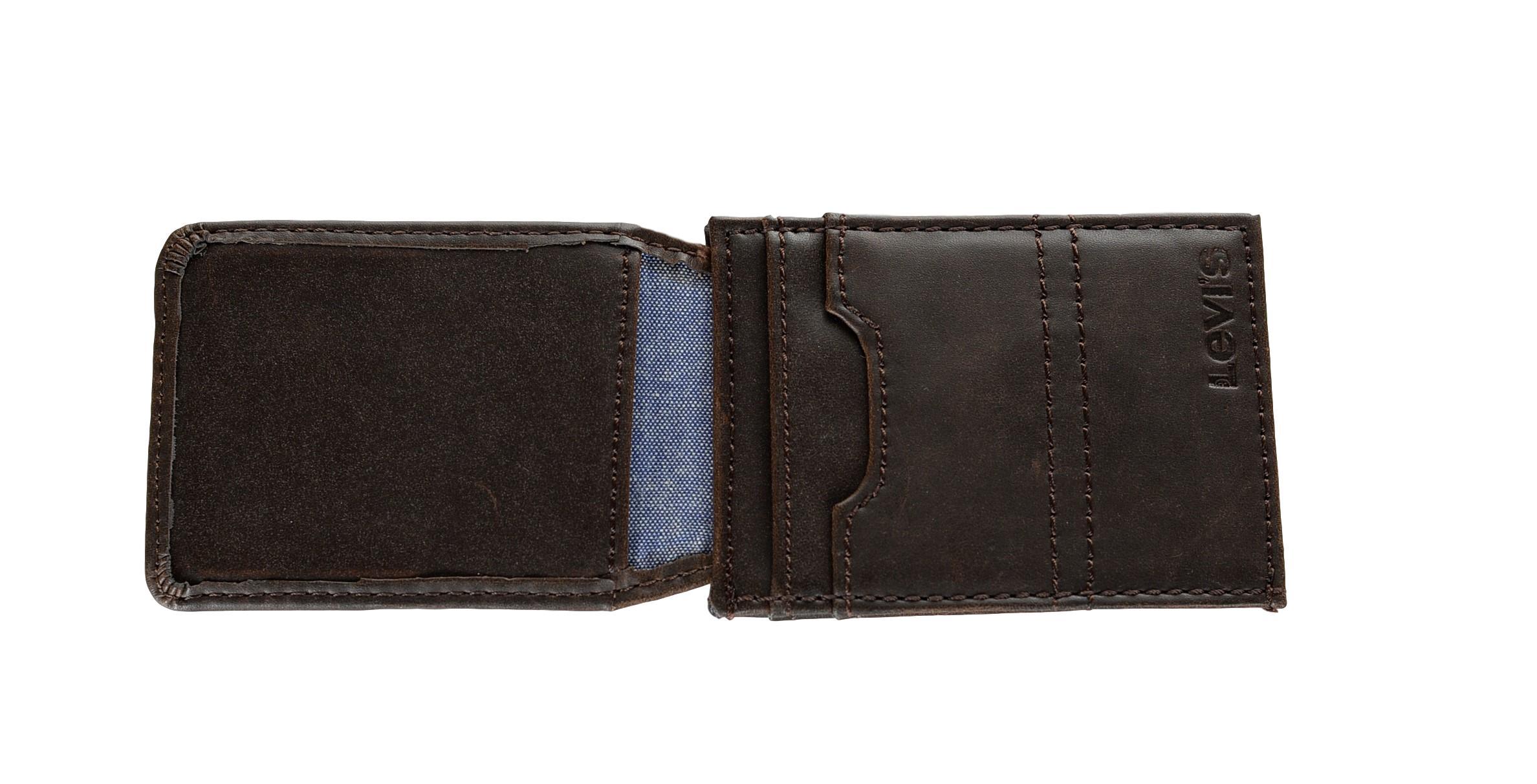 1970fad0f Levi's Men's Leather Magnetic Money Clip Front Pocket Wallet | eBay