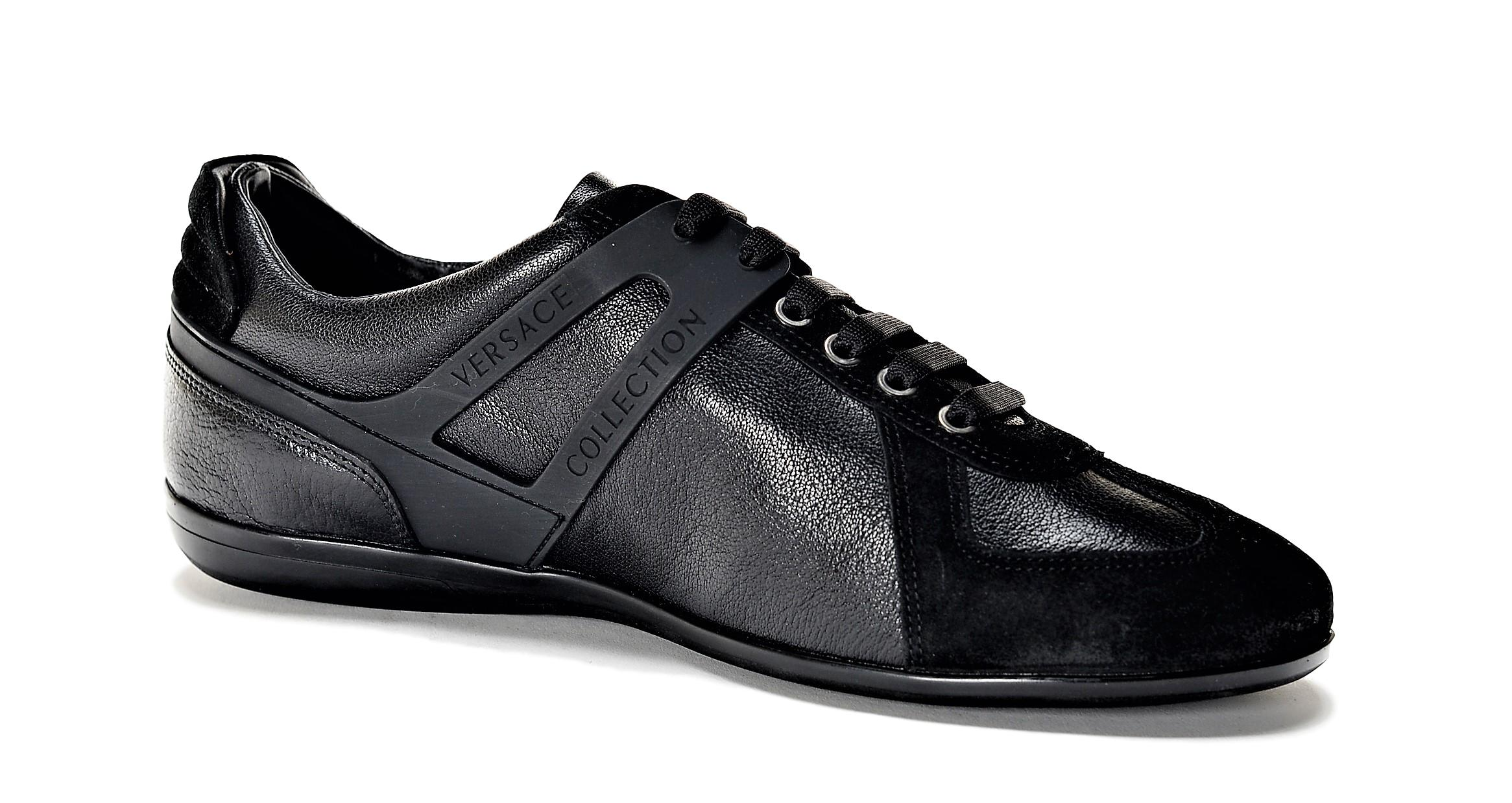Details about Versace Collection Men's Leather Suede Low Top Sneakers Shoes