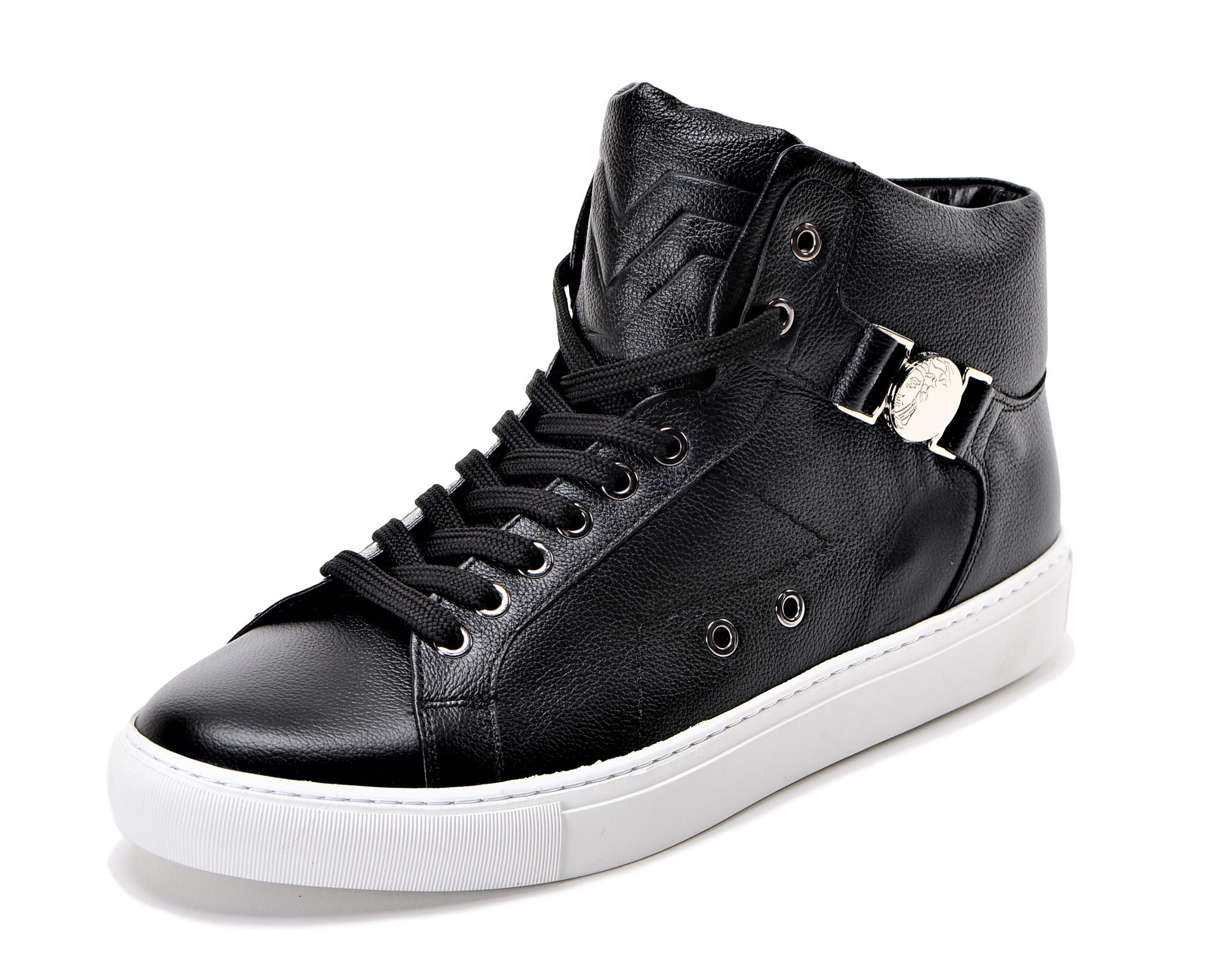 Details about Versace Collection Half Medusa Mens Leather High Top Sneaker Black