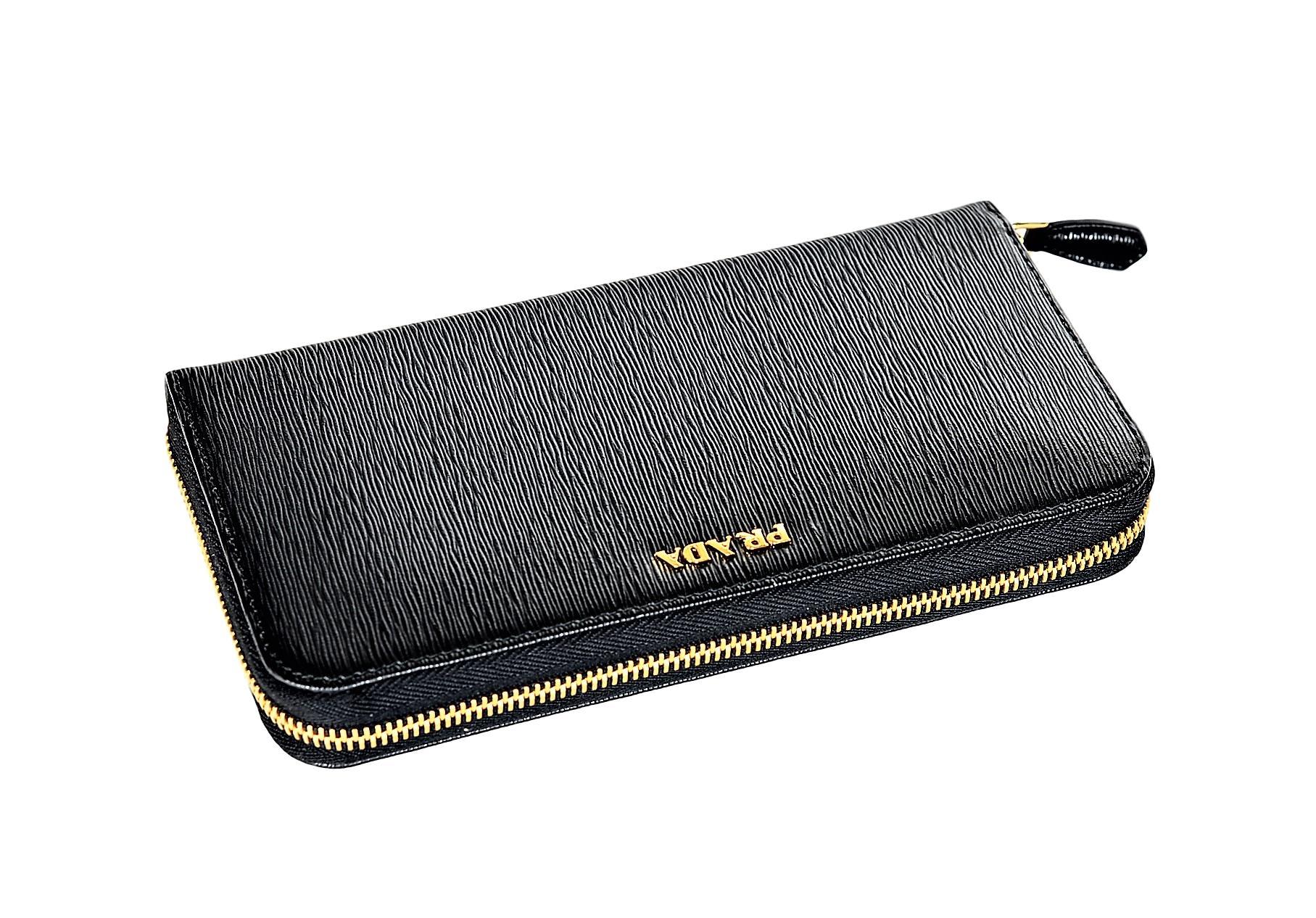2d873bdfc880 Prada Womens 1ML506 2BNC Vitello Move BI Leather Wallet Nero (Black ...