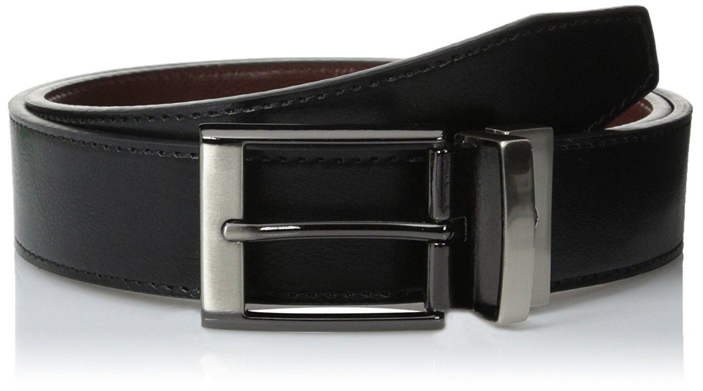 Docker/'s Men/'s 1.38 Inch Cut Edge Reversible Belt Black Brown