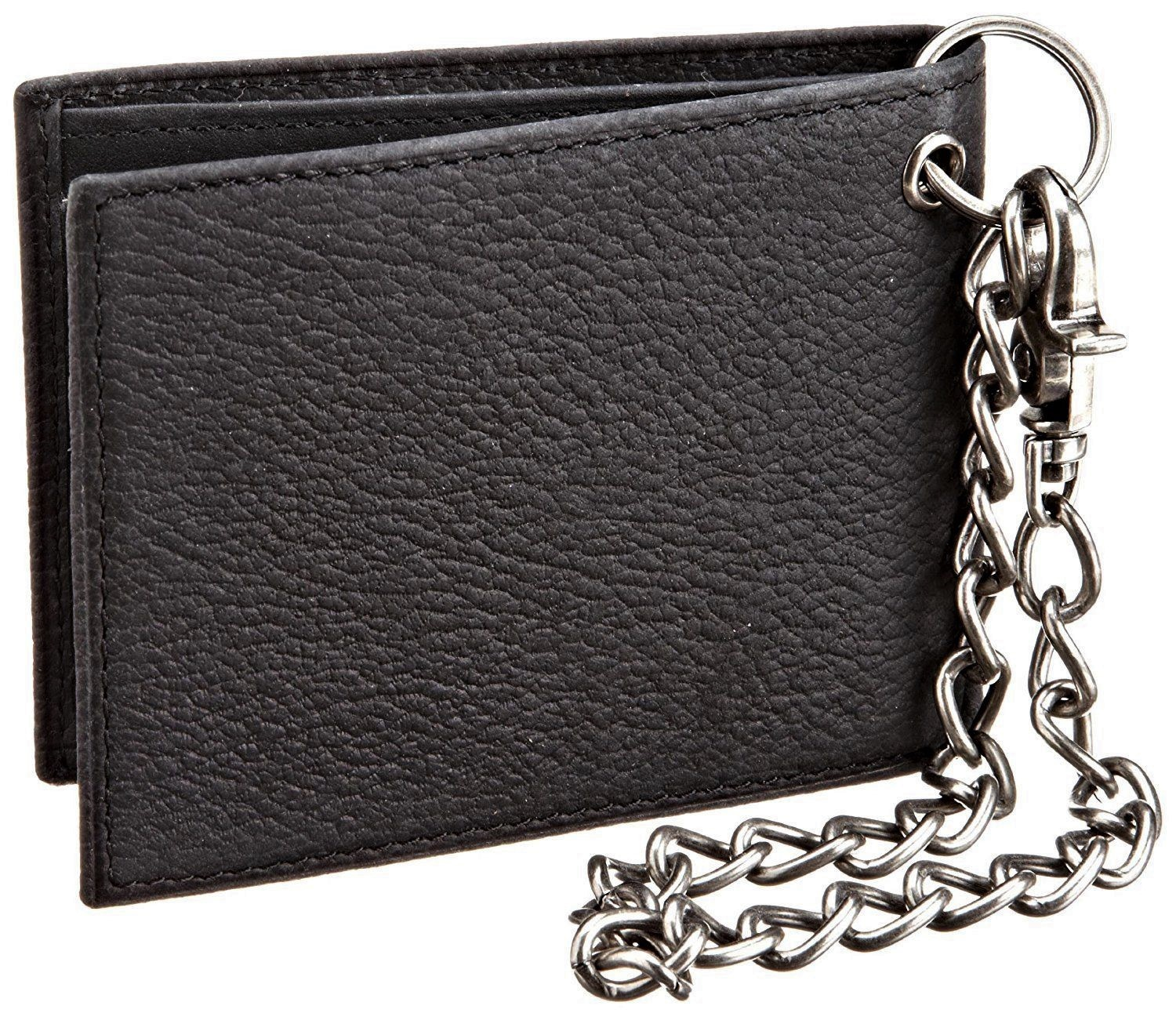 Dickies-Men-039-s-Leather-Slimfold-Wallet-With-Chain thumbnail 5
