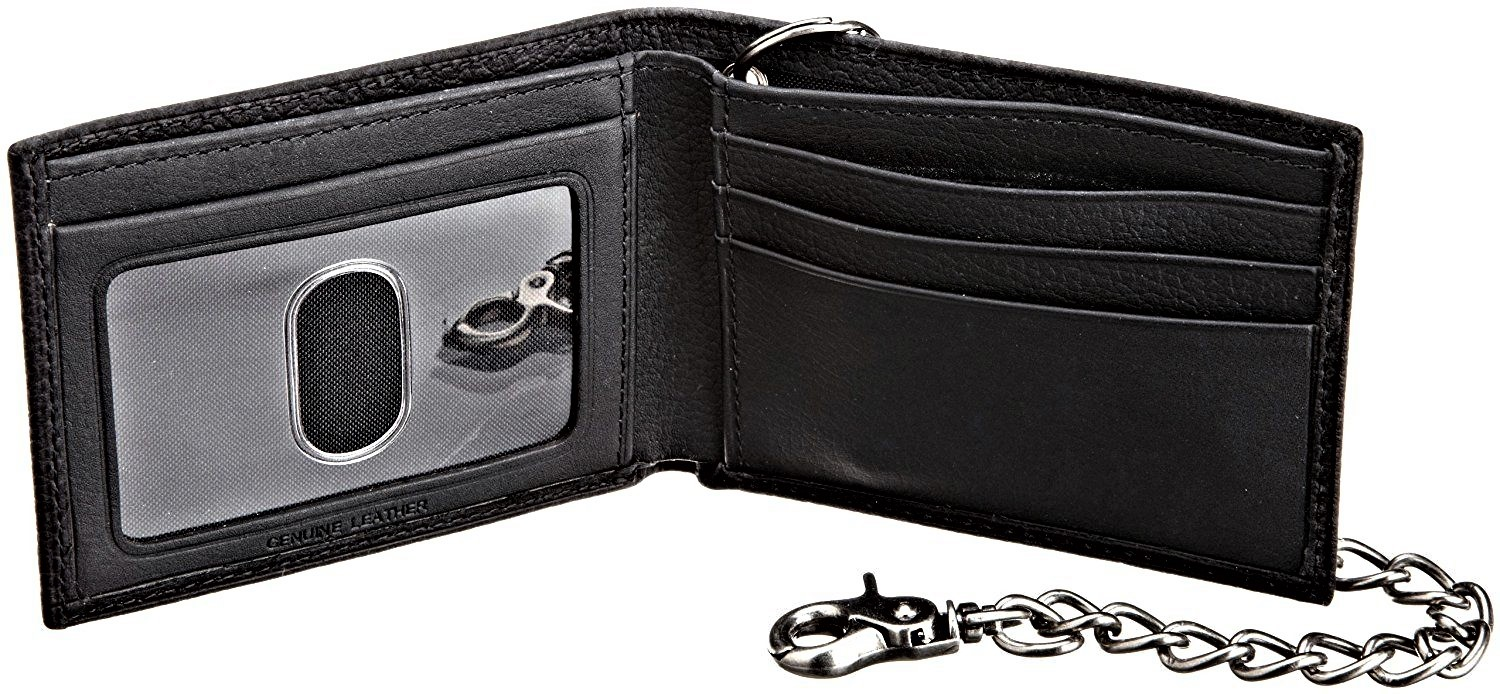 Dickies-Men-039-s-Leather-Slimfold-Wallet-With-Chain thumbnail 7