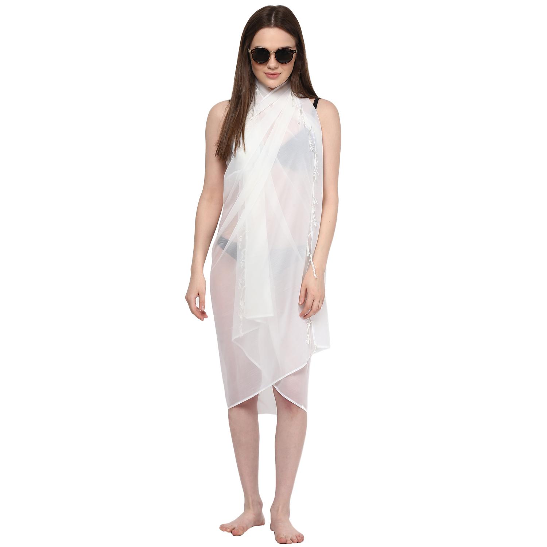 bdbfa09c76 Sarong Women Solid Plain Beach Swimsuit Wrap Plus Size Sheer Cover Up White