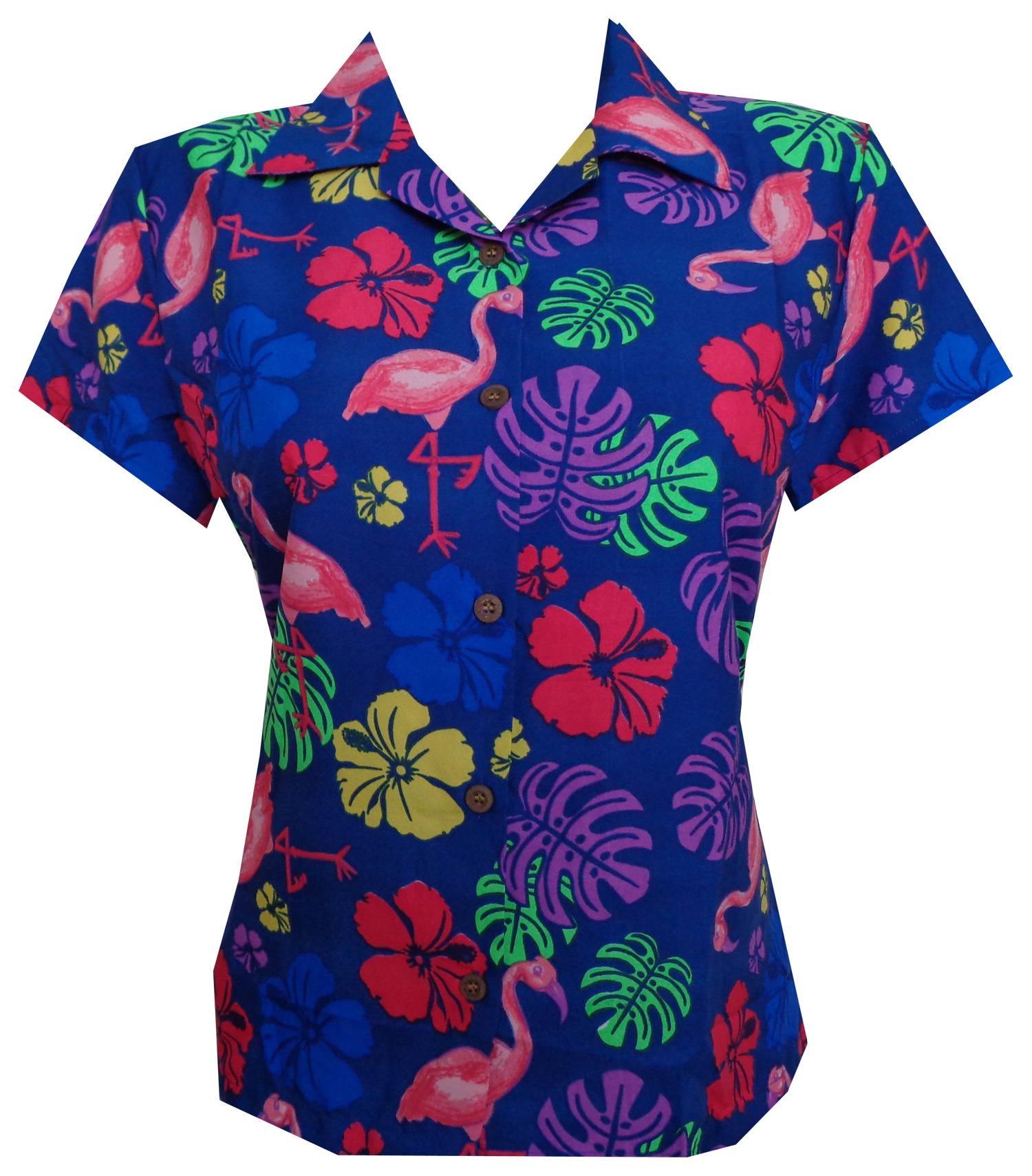 Hawaiian Shirt Women Flamingo Leaf Print Aloha Beach ...